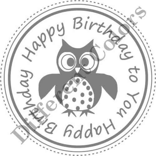 Happy Birthday Owl Circle